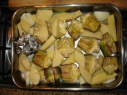 Baked artichokes & potatoes