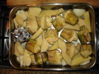 Baked artichokes & potatoes