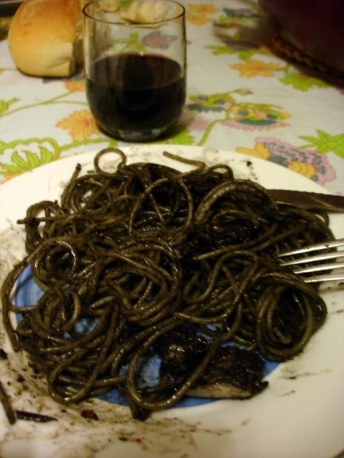 Sardinian Squid Ink Pasta & local red wine