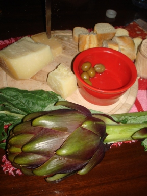 All local produce: Cheese, Olives and Artichokes