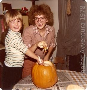 Carving pumpkins with my big sis