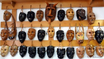 Hand-crafted masks.