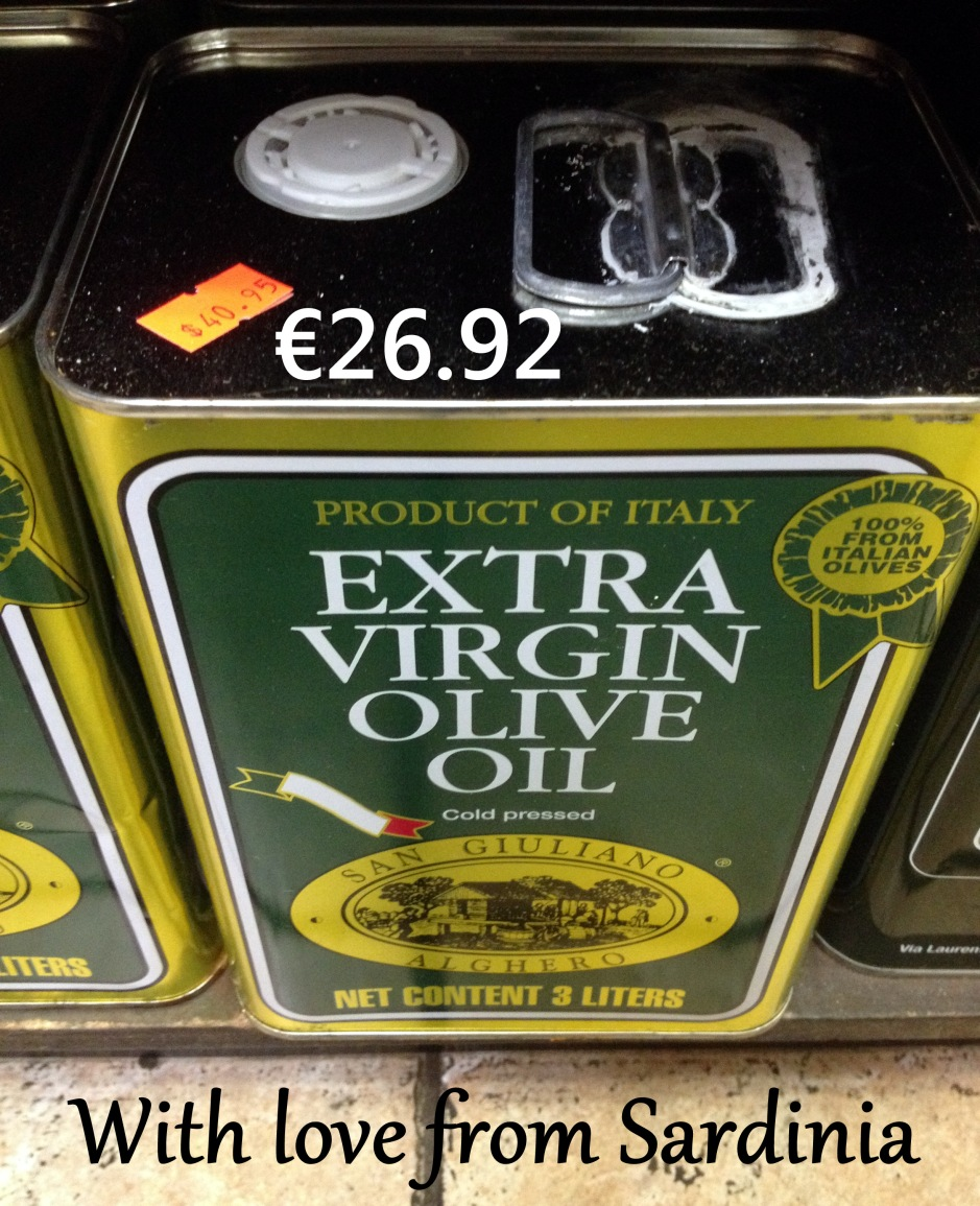 3 litres of fine Sardinian Olive Oil